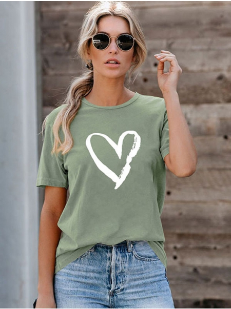 Dresswel Women Heart Graphic Printed Valentine Day Crew Neck Short Sleeve Casual T-Shirts Tops