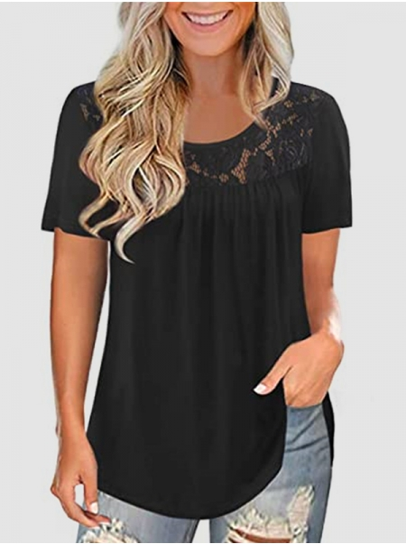 Dresswel Women Solid Color Lace Splicing Pleated Round Neck Short Sleeve T-shirt Tops