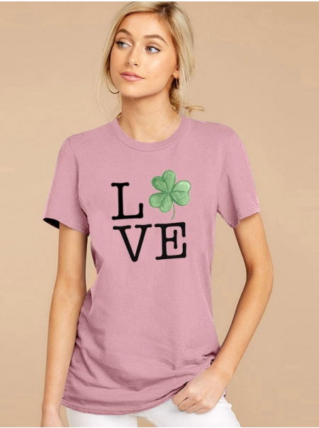 Dresswel Women Love Letter Shamrock Graphic Printed St Patrick's Day T-shirts Tops