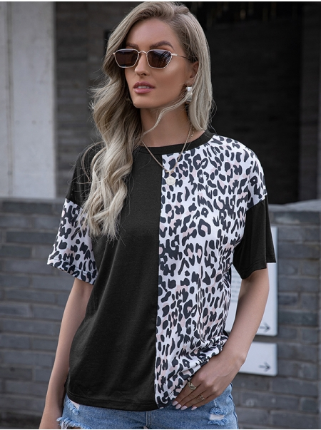Dresswel Women Leopard Print Color Block Patchwork Crew Neck Short Sleeve T-shirt Tops