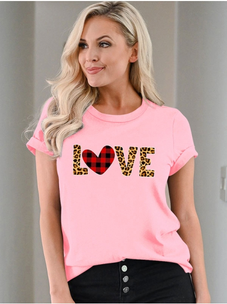Dresswel Women Love Leopard Letter Plaid Heart Printed Valentine's Day T-shirts Tops
