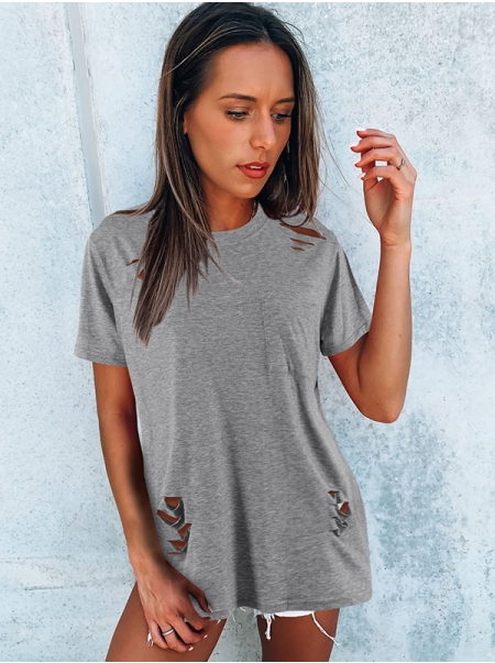 Dresswel Women Solid Color Ripped Hole Distressed Crew Neck Short Sleeve T-shirt Tops
