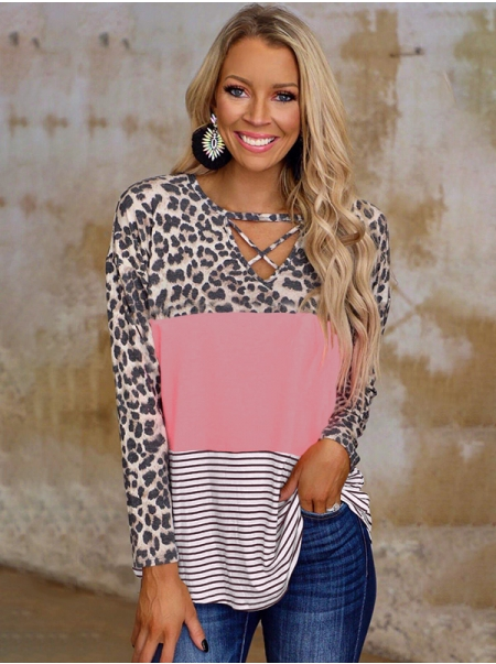 Dresswel Women Leopard Horizontal Stripes Stitching Long Sleeve V-neck Casual T-shirt Tops