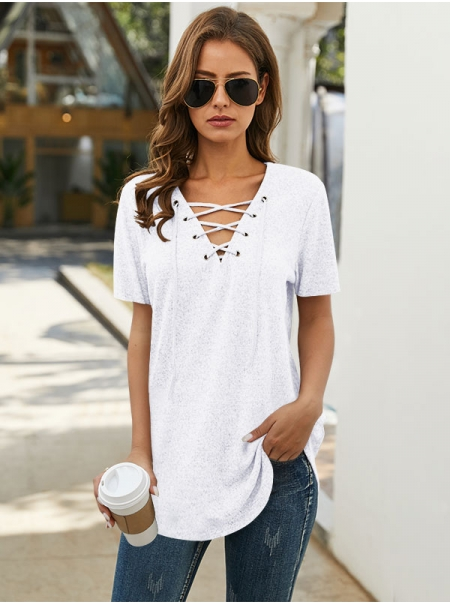 Dresswel Women Lace-up Front Solid Colort Short Sleeves Tunics T-shirts Tops