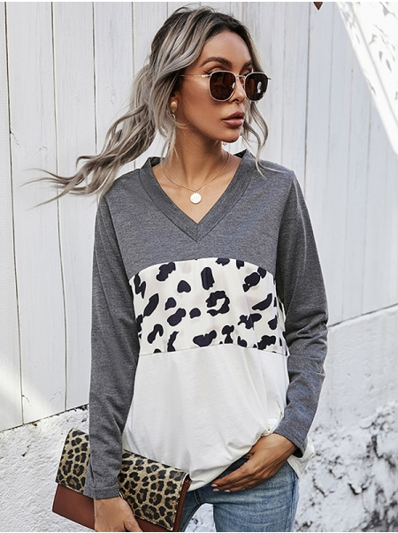Dresswel Women Leopard Print Contrast Color V Neck Long Sleeve Pullover T-shirt Tops