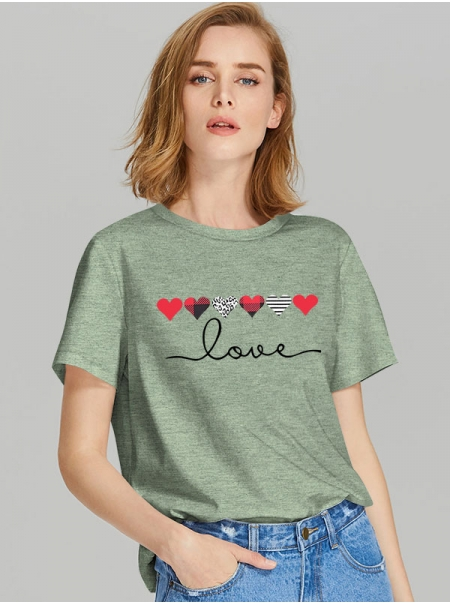 Dresswel Women Love Letter Graphic Printed Short Sleeve Valentine Day Crew Neck T-Shirts Tops