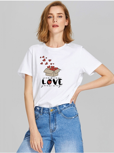 Dresswel Women Finding Love Your Way Letter Graphic Valentine's Day T-shirts Tops