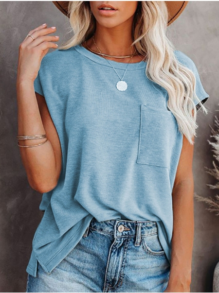 Dresswel Women Solid Color Pocket Front Short Sleeve Round Neck Casual T-Shirts Tops