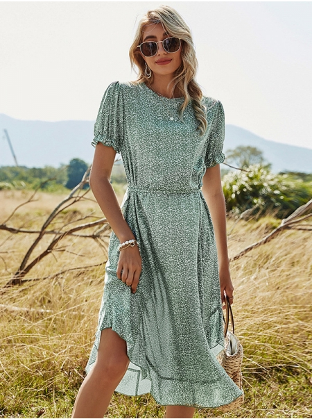 Dresswel Women Floral Print Ruffled Short Sleeves Round Neck Ruffled Hem Midi Dress