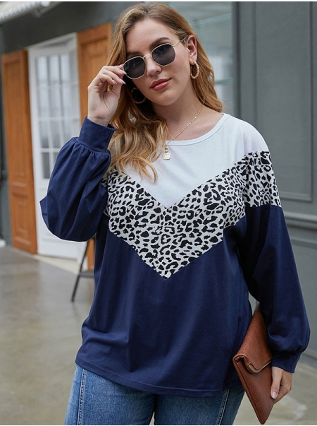 Dresswel Women Leopard Print Contrast Color O Neck Lantern Sleeve Oversized T-Shirt Tops