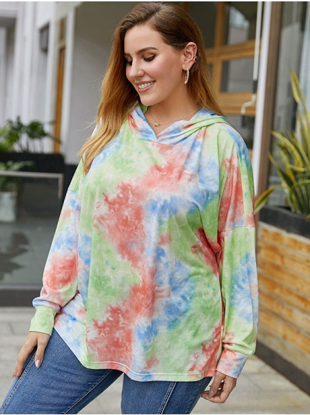 Dresswel Women Tie Dye Hooded Oversized Long Sleeve Pullover Fashion Hoodies Tops