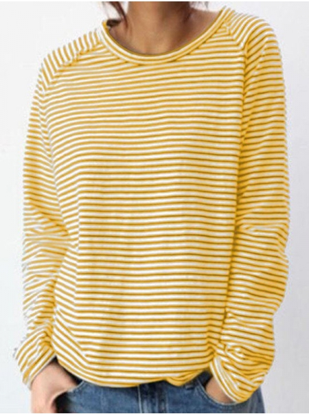 Dresswel Women Horizontal Stripes Crew Neck Long Sleeve Bottoming T-Shirt Tops