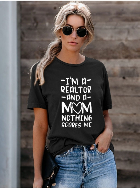 Dresswel Women I'm A Realtor And A Mom Letter Printed O Neck Short Sleeve T-Shirts Tops