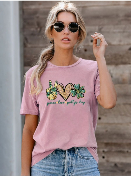 Dresswel Women Peace Love Patty's Day Letter Graphic Printed Valentine Day Short Sleeve T-Shirts Tops
