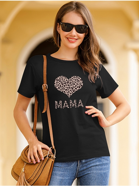 Dresswel Women Mama Letter Print Short Sleeve Round Neck Heart T-Shirt Tops