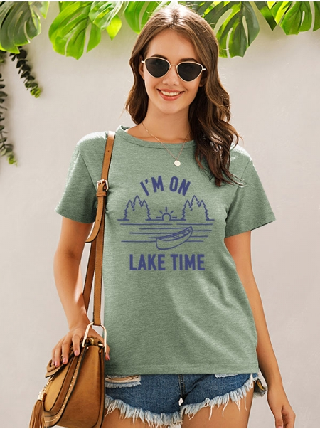Dresswel Women I'm On Lake Time Letter Print Graphic Crew Neck Stylish Tops