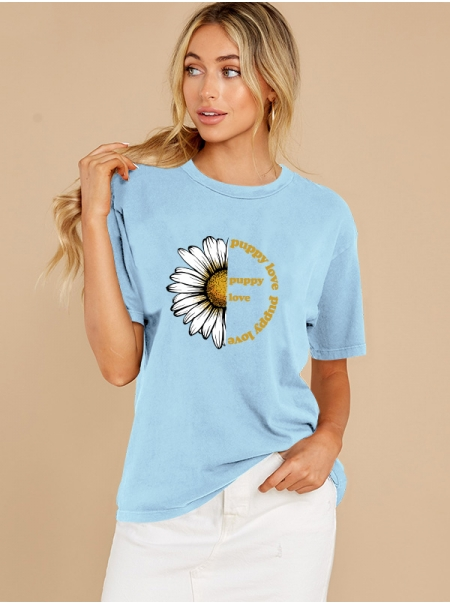 Dresswel Women Sunflower Puppy Love Letter Print Casual O Neck Short Sleeve T-Shirt Tops