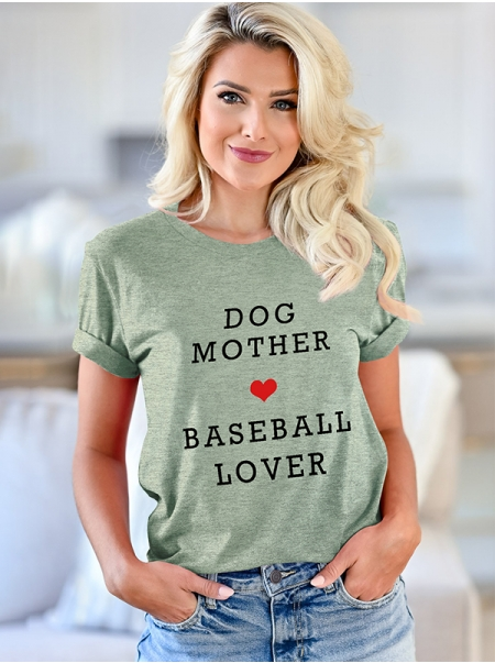Dresswel Women Dog Mother Baseball Lover Short Sleeve O-neck Simple T-shirt Tops
