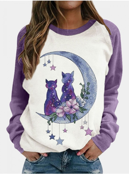 Dresswel Women Moon Cat Floral Print Color Block Patchwork Raglan Long Sleeve T-shirt Tops