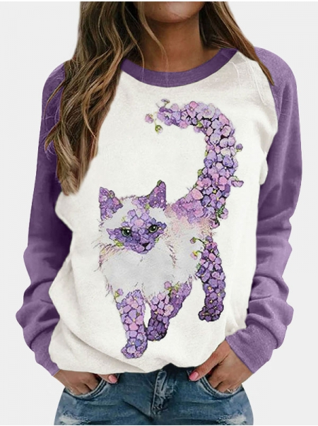 Dresswel Women Floral Cat Print Color Block Patchwork Raglan Long Sleeve T-shirt Tops