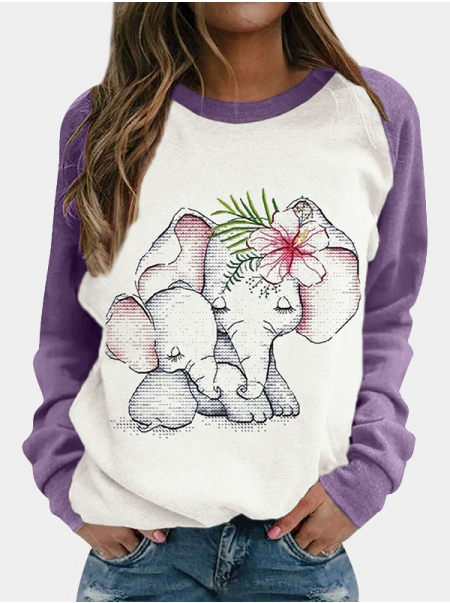 Dresswel Women Floral Elephant Print Color Block Patchwork Raglan Long Sleeve T-shirt Tops