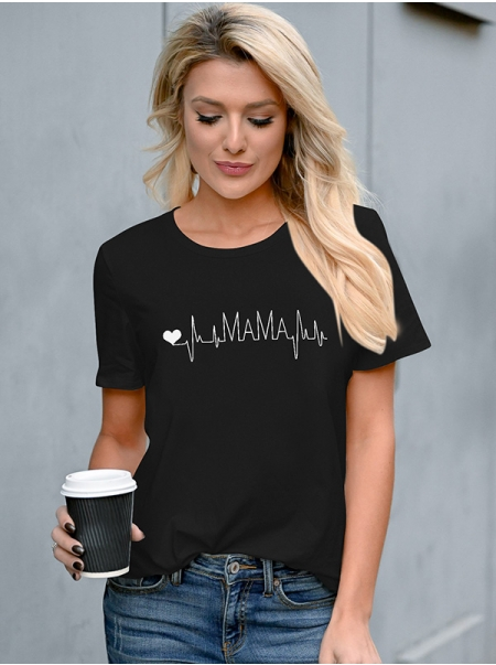 Dresswel Women Mama Letter Heart Graphics Print Short Sleeve Round Neck T-Shirts Tops