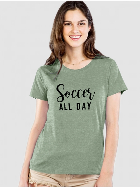 Dresswel Women Soccer All Day Short Sleeve Round Neck Summer Basic T-shirt Tops