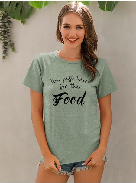 Dresswel Women I'm Just Here for The Food Letter Print Round Neck Pullover T-Shirt Tops