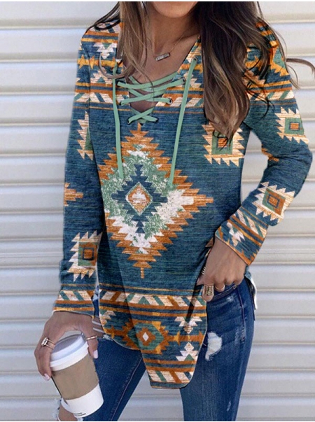 Dresswel Women Ethnic Printed Drawstring Front Criss Cross Long Sleeve T-Shirt Tops