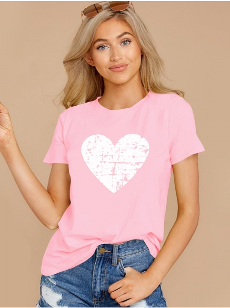 Dresswel Women Heart Graphic Print Short Sleeve Pullover Valentine's Day T-Shirts Tops
