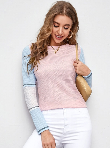 Dresswel Women Long Sleeve Round Neck Colorblock Casual Slim Knitted Blouse Tops