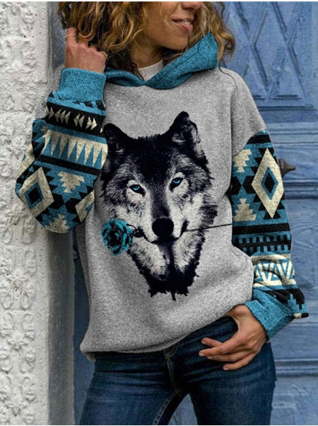 Dresswel Women Wolf Graphic Printed Colorblock Long Sleeve Loose Hoodies Tops