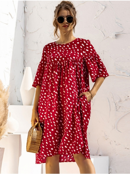 Dresswel Women Polka Dots Printed Round Neck Half Sleeve Loose Stylish Midi Dress
