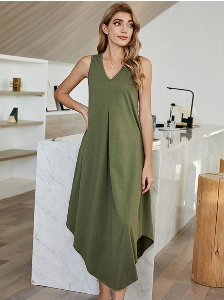 Dresswel Women Solid Color V Neck Sleeveless Irregular Hem Casual Midi Dress