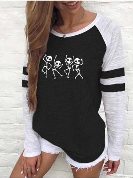 Dresswel Women Skeleton Print Stripe Crew Neck Raglan Long Sleeves T-shirt Tops