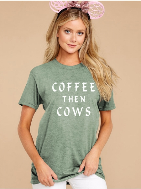 Dresswel Women Letter Tee Shirt Coffee Then Cows Plus Size Casual Solid Color T-Shirt Tops