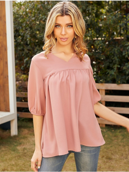 Dresswel Women Solid Color V Neck Half Sleeve Pleated Casual Fashion Shirts Blouse Tops