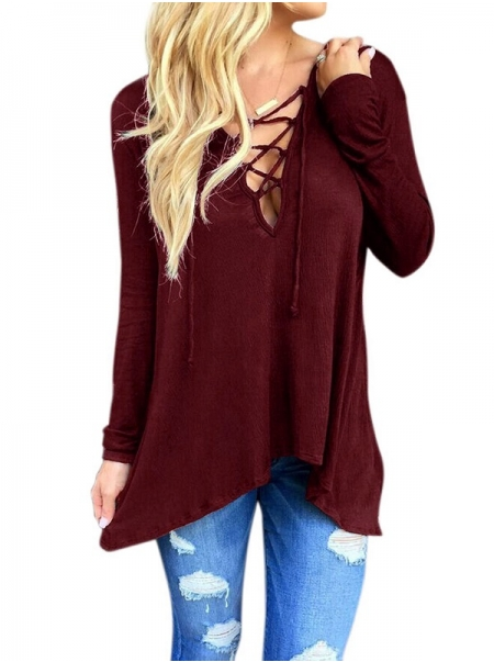 Dresswel Women Lace Up V Neck Loose Blouse Long Sleeve Shirt Tops