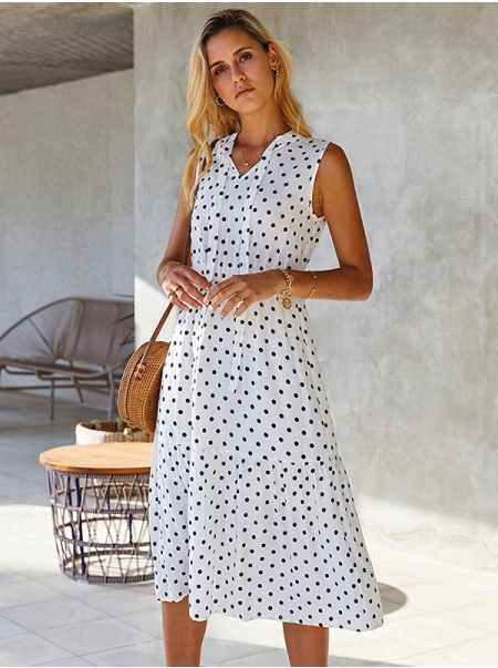 Dresswel Women Polka Dots Printed V Neck Front Tie Sleeveless Slim Fashion Midi Dress
