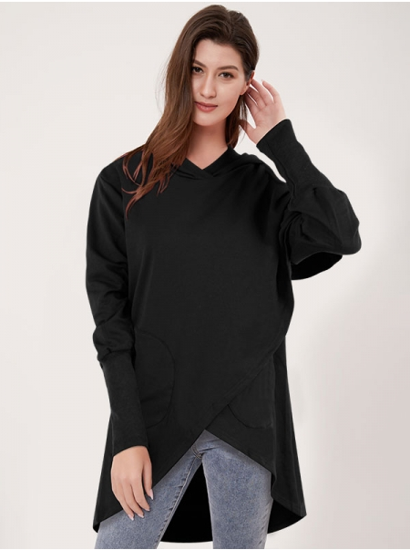 Dresswel Women Asymmetric Hem Hooded Sweatshirt with Pocket Hoodies Tops