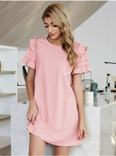 Dresswel Women Solid Color Round Neck Ruffled Short Sleeve A-Line Simple Mini Dress