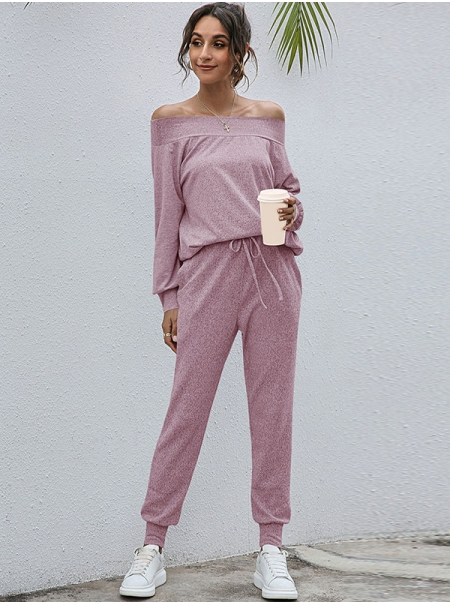 Dresswel Women Solid Color Off Shoulder Long Sleeves Tops Pants Casual Homewear Set