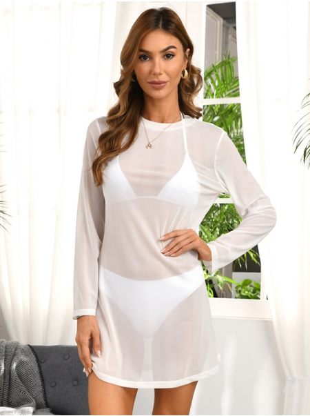 Dresswel Women Solid Color See-Through Long Sleeve Round Neck Beach Bikini Cover-Up Mini Dress