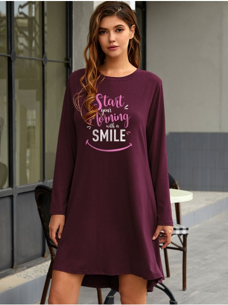 Dresswel Women Start Your Morning Letter Smile Printed Long Sleeve Stylish Mini Dress