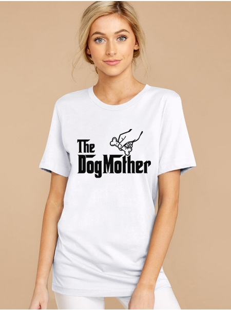 Dresswel Women The Dog Monther Letter Print Crew Neck Short Sleeve T-shirts Tops