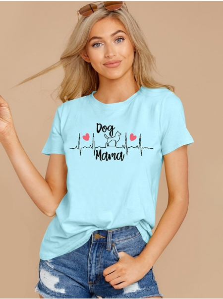 Dresswel Women Mama Letter Printed Round Neck Short Sleeve Casual T-shirts Tops