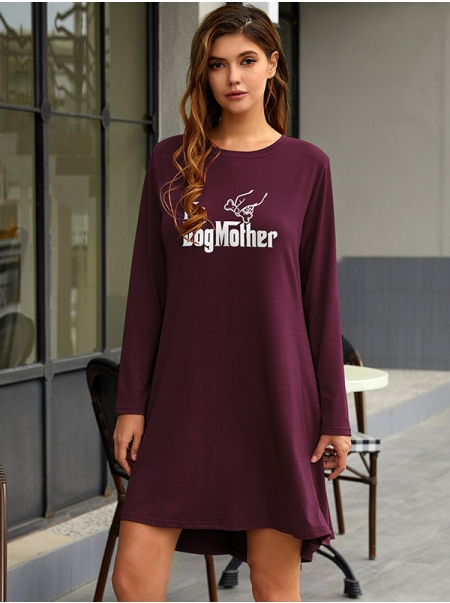 Dresswel Women The Dog Monther Letter Print Round Neck Long Sleeve Mini Dress