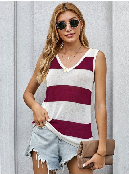 Dresswel Women Stripe Printed V Neck Sleeveless Casual Comfy Knitted Fashion Tank Tops