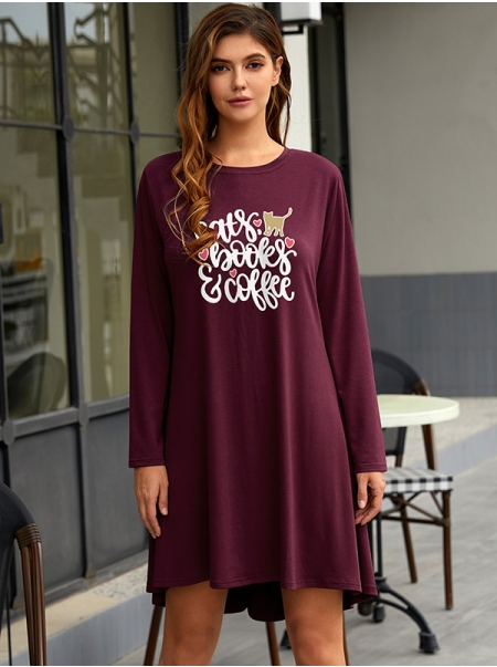 Dresswel Women Cats Books Coffee Letter Print Round Neck Long Sleeve Mini Dress