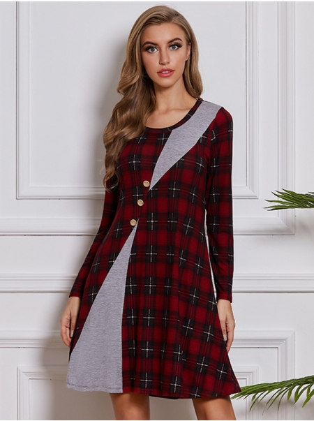 Dresswel Women Checkered Colorblock Crew Neck Long Sleeve Buttons Mini Dress